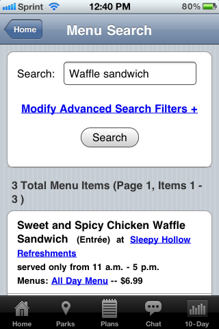 Sample Menu Search on Lines