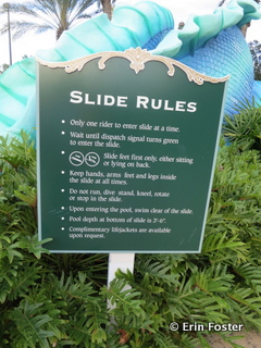 Rules are posted next to every water slide.