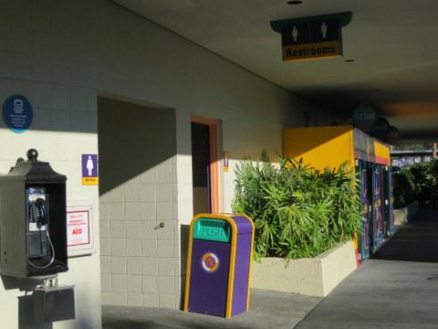 Vending, payphone, restrooms.