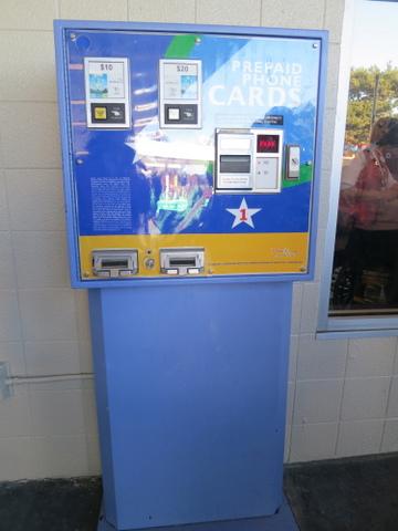 Calling card machine, located near the bus zone.