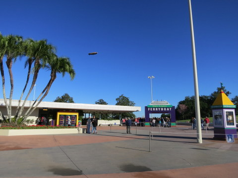 The ferry is to the left of the monorail as you face the Magic Kingdom.