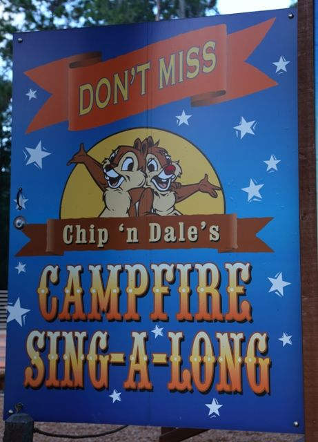 Chip 'n Dale's Campfire Sing-A-Long Sign