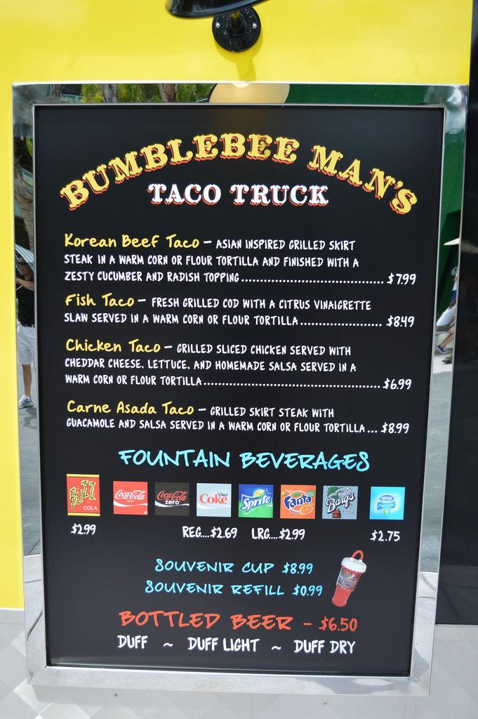 Bumblebee Man's Taco Truck Menu