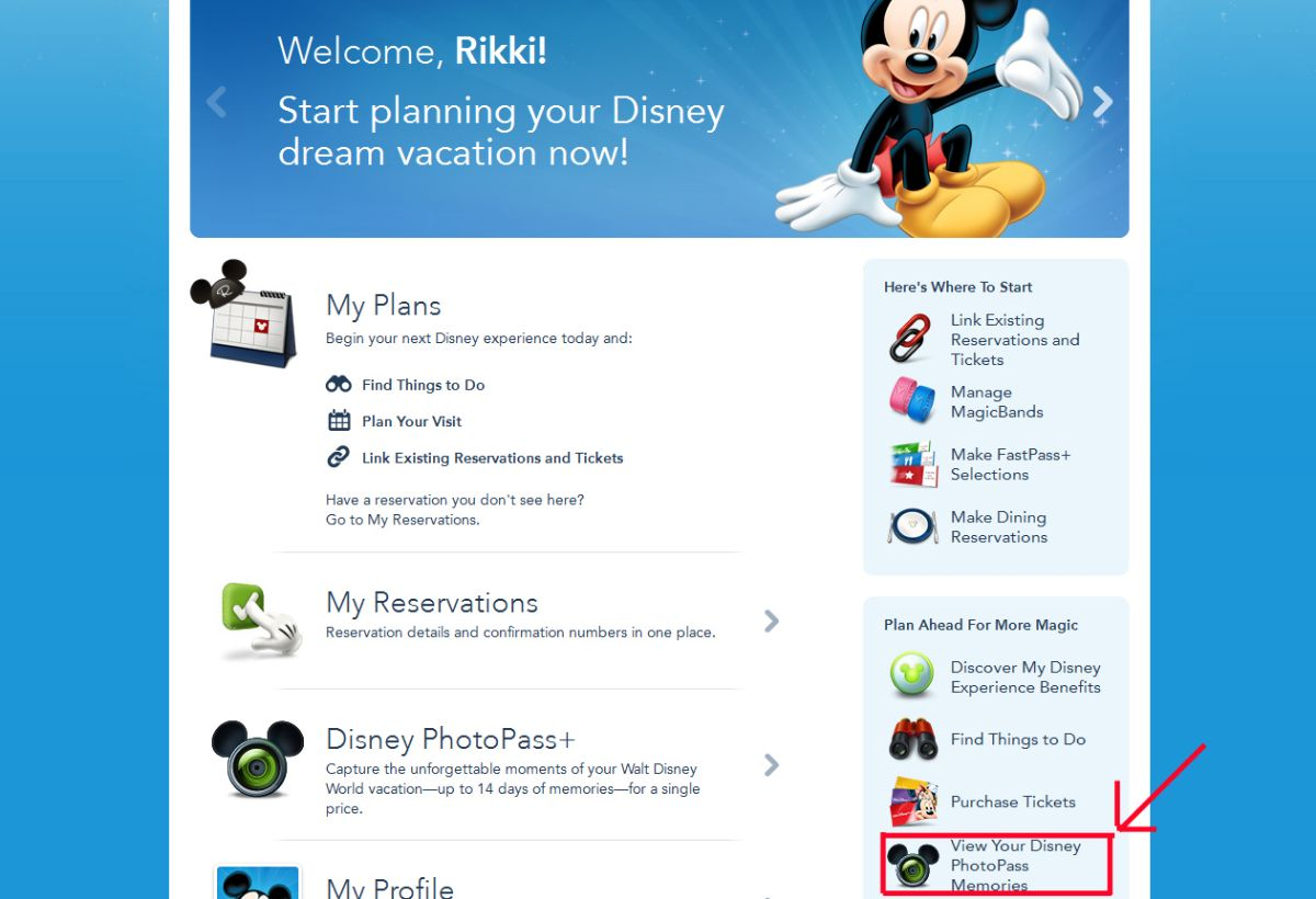 Where to find PhotoPass Photos via the My Disney Experience App