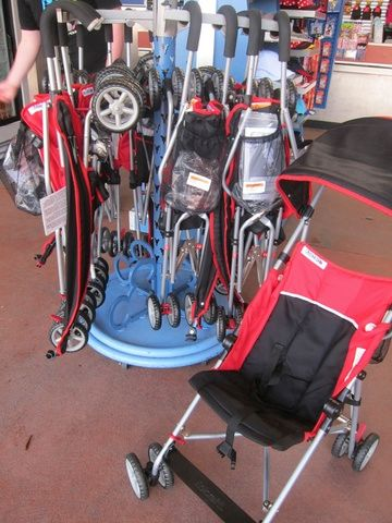 Basic Kolcraft umbrella strollers are sold in the WDW parks and resorts for approximately $60