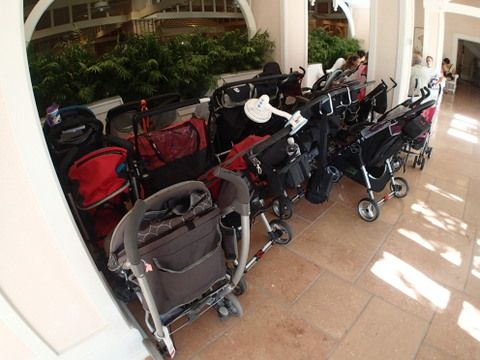 Even restaurants have stroller parking areas. This one is outside the Cape May Cafe at the Beach Club resort