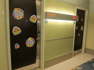Some guests decorate the door to their room when they're celebrating.