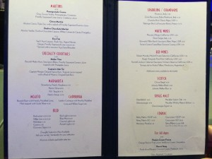 Bar menu at Evolution