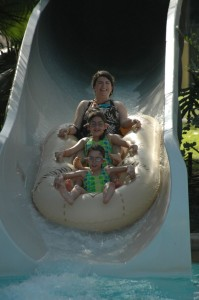 The water parks have many activities families can do together.