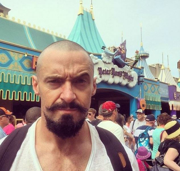 Hugh Jackman recently visited Walt Disney World with his family and posted this shot on his Instagram.  Can you guess what movie project he's working on?