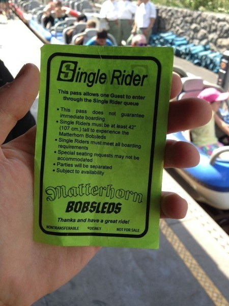 Matterhorn Bobsleds Single Rider Pass