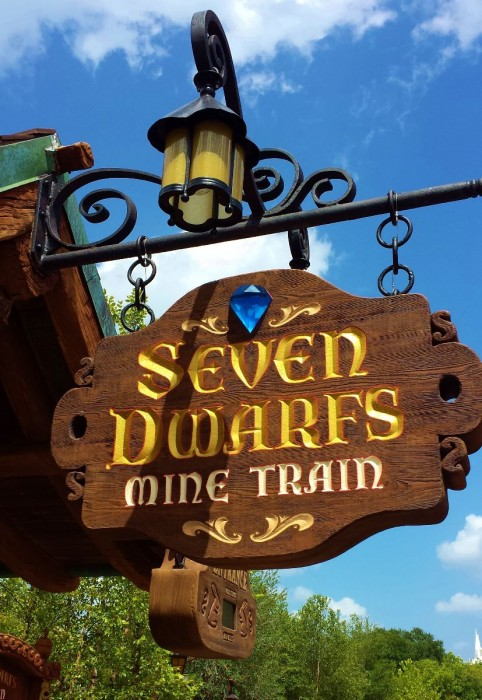 Seven Dwarfs Mine Train Sign from the attraction at Magic Kingdom