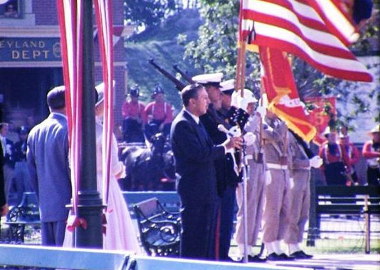 Walt at Disneyland's opening day Flag Retreat.  photo courtesy of Susan Emslie via Facebook