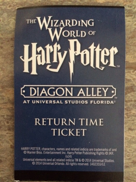 Sample return time ticket for The Wizarding World of Harry Potter.
