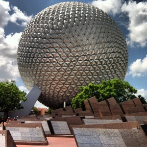 the iconic spaceship earth from Epcot.