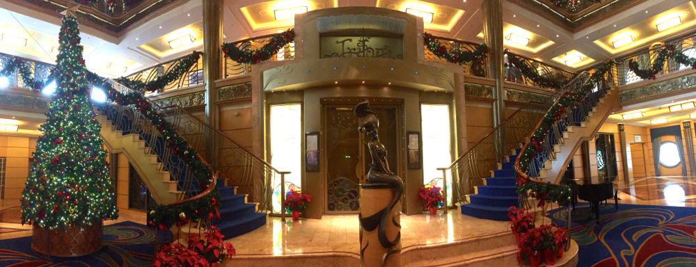 The atrium of the DCL Wonder decked out for Christmas in November. Photo - Laurel Stewart