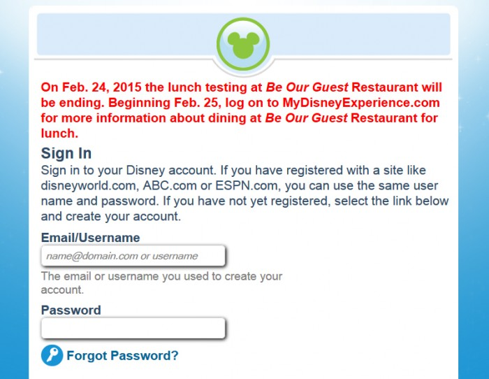 Be Our Guest Restaurant FastPass+ Removal