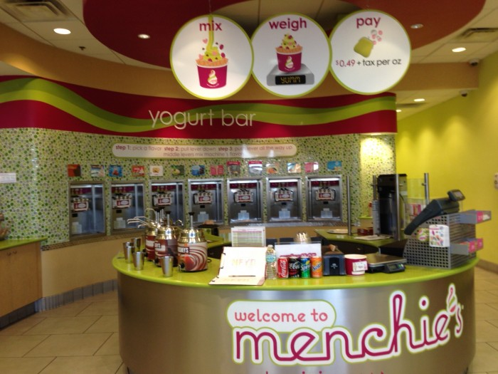 At Menchie's, pick your frozen yogurt, your toppings, and the amount of each and pay by the ounce. (Photo by Julia Mascardo)