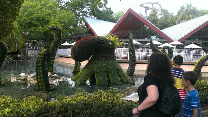 The waterbound octopus topiary is just one of the sights at the Busch Gardens Food and Wine Festival
