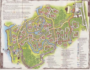 Disney's map of Fort Wilderness including bus routes.