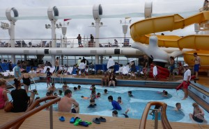 Some families with younger children find the ship pool areas overwhelming.