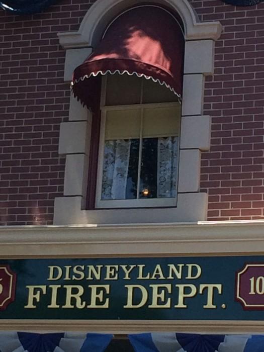 The light in Walt's apartment window above the Disneyland Fire Dept.