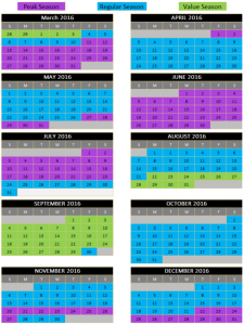 Peak pricing in Spring Break, Summer, Thanksgiving and Christmas Value Pricing in Late August and September