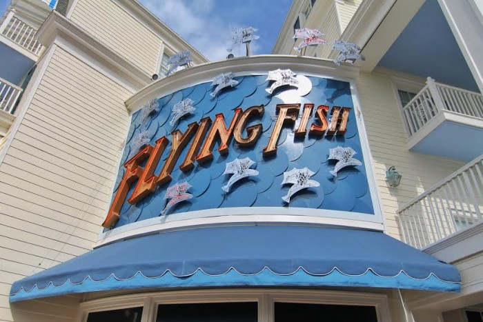 The marquee at Flying Fish remains as colorful as ever